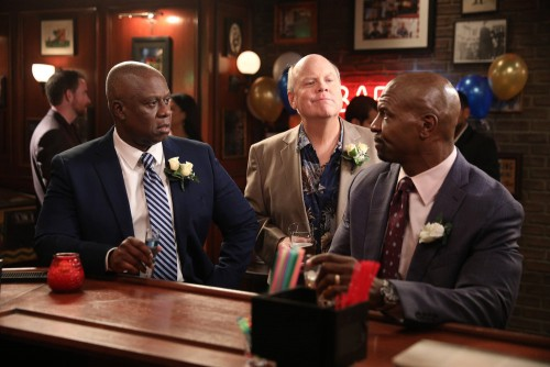 "BROOKLYN NINE-NINE -- ""Trying"" Episode 706 -- Pictured: (l-r) Andre Braugher as Raymond Holt, Dirk B"