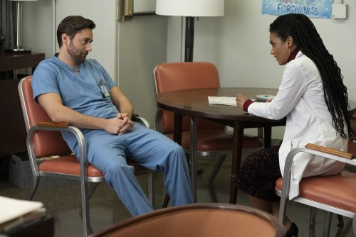 "NEW AMSTERDAM -- ""Perspectives"" Episode 216 -- Pictured: (l-r) Ryan Eggold as Dr. Max Goodwin, Freem"