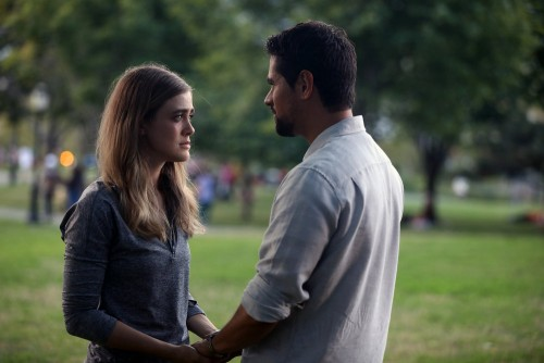 "MANIFEST -- ""Course Deviation"" Episode 210 -- Pictured: (l-r) Melissa Roxburgh as Michaela Stone, J."