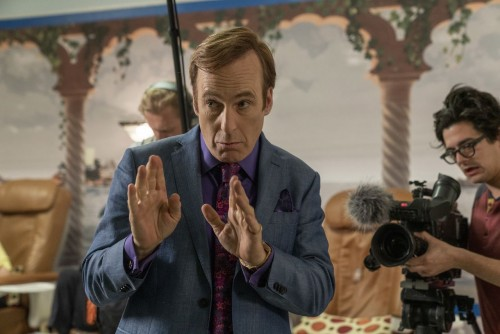 Bob Odenkirk as Jimmy McGill, Julian Bonfiglio as Sound Guy, Josh Fadem as Camera Guy  - Better Call