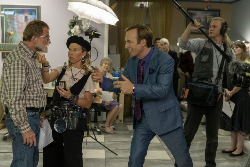 David Gibson as Older Gentleman, Hayley Holmes as Drama Girl, Bob Odenkirk as Jimmy McGill, Julian B