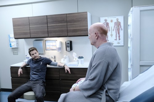 "THE RESIDENT:  L-R:  Matt Czuchry and guest star Glenn Morshower in the ""Burn it All Down"" season fi"