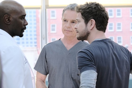"THE RESIDENT: L-R:  Morris Chestnut, Bruce Greenwood and Matt Czuchry in the ""Burn it All Down"" seas"
