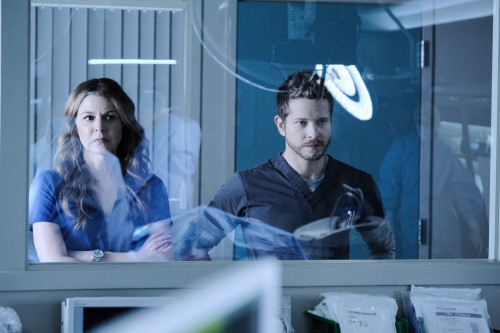 """THE RESIDENT:  L-R:  Jane Leeves and Matt Czuchry in the """"Burn it All Down"""" season finale episode of"""