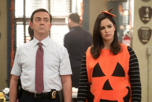 "BROOKLYN NINE-NINE -- ""Valloweaster"" Episode 711 -- Pictured: (l-r) Joe Lo Truglio as Charles Boyle,"