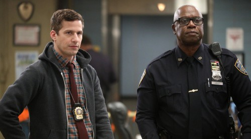 """BROOKLYN NINE-NINE -- """"Valloweaster"""" Episode 711 -- Pictured: (l-r) Andy Samberg as Jake Peralta, An"""