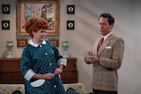 """WILL & GRACE -- """"We Love Lucy"""" Episode 316 -- Pictured: (l-r) Debra Messing as Grace Adler/Lucy, Eri"""