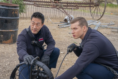 9-1-1:  L-R: Kenneth Choi and Oliver Stark in the Eddie Begins episode of 9-1-1 airing Monday, April