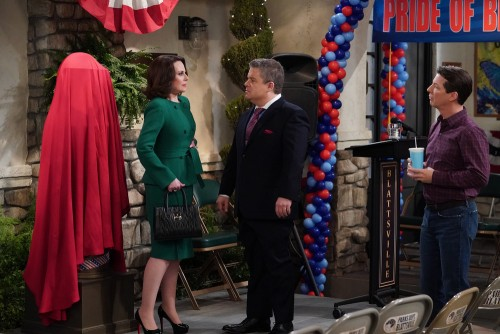 "WILL & GRACE -- ""New Crib"" Episode 317 -- Pictured: (l-r) Megan Mullally as Karen Walker, Patton Osw"