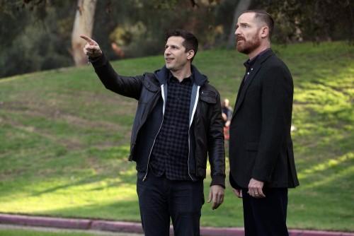 "BROOKLYN NINE-NINE -- ""Ransom"" Episode 712 -- Pictured: (l-r) Andy Samberg as Jake Peralta, Marc Eva"