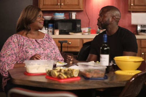 """GOOD GIRLS -- """"Synergy"""" Episode 311 -- Pictured: (l-r) Retta as Ruby Hill, Reno Wilson as Stan -- (P"""