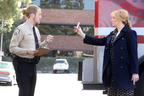 "GOOD GIRLS -- ""Synergy"" Episode 311 -- Pictured: (l-r) Kale Clauson as Neal, Christina Hendricks as"