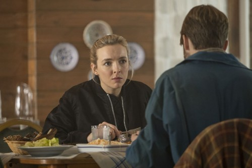 Jodie Comer as Villanelle, Rob Feldman as Pyotr - Killing Eve _ Season 3, Episode 5 - Photo Credit: