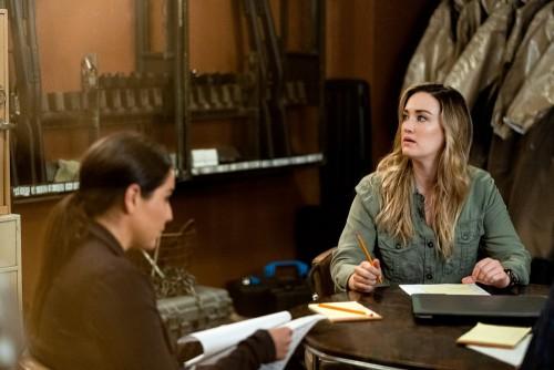 """BLINDSPOT -- """"Fire & Brimstone"""" Episode 506 -- Pictured: (l-r) Audrey Esparza as Tasha Zapata, Ashle"""