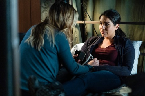 "BLINDSPOT -- ""Fire & Brimstone"" Episode 506 -- Pictured: (l-r) Ashley Johnson as Patterson, Audrey E"