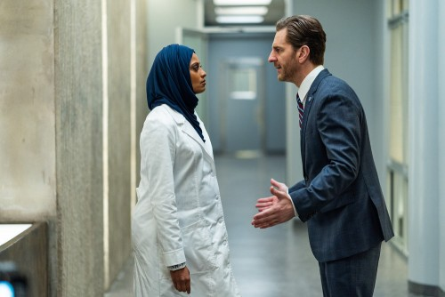 "BLINDSPOT -- ""Fire & Brimstone"" Episode 506 -- Pictured: (l-r) Ami Sheth as Afreen, Aaron Abrams as"