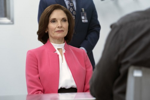 "BLINDSPOT -- ""Brass Tacks"" Episode 509 -- Pictured: Mary Elizabeth Mastrantonio as Madeline Burke --"