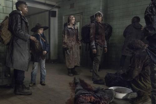 Melissa McBride as Carol Peletier, Cailey Fleming as Judith Grimes, Angel Theory as Kelly, Briana Ve
