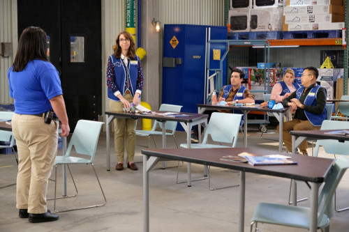 "SUPERSTORE -- ""Biscuit"" Episode 607 -- Pictured: (l-r) Irene White as Carol, Ben Feldman as Jonah, K"