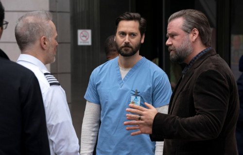 """NEW AMSTERDAM -- """"The New Normal"""" Episode 301 -- Pictured: (l-r) Ryan Eggold as Dr. Max Goodwin, Tyl"""