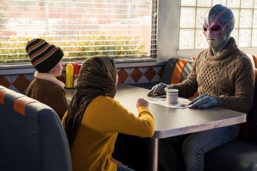 "RESIDENT ALIEN -- ""Love Language"" Episode 105 -- Pictured: (l-r) Judah Prehn as Max Hawthorne, Alien"