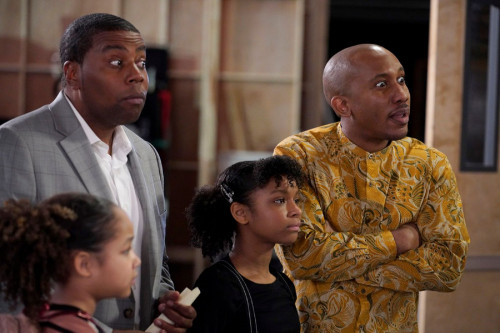 "KENAN -- ""4th Hour"" Episode 103 -- Pictured: (l-r) Dani Lane as Birdie, Kenan Thompson as Kenan, Daa"