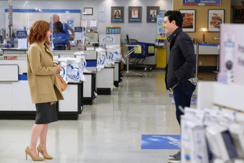 """SUPERSTORE -- """"Depositions"""" Episode 610 -- Pictured: (l-r) Maria Thayer as Hannah, Ben Feldman as Jo"""