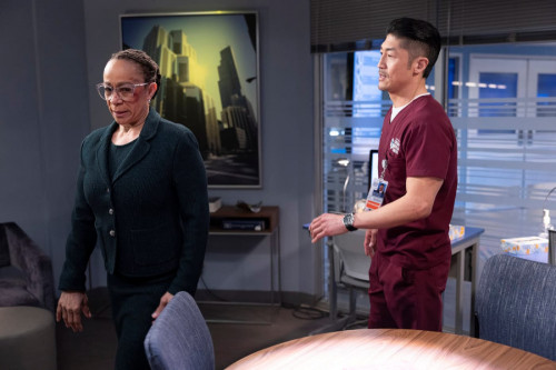 """CHICAGO MED -- """"What A Tangle Web We Weave"""" Episode 613 -- Pictured: (l-r) S. Epatha Merkerson as Sh"""