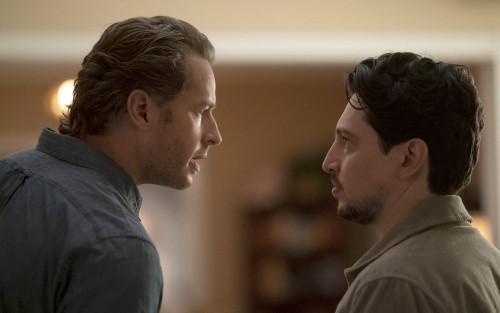 "MANIFEST -- ""Bogey"" Episode 309 -- Pictured: (l-r) Josh Dallas as Ben Stone, Ali Lopez-Sohaili as Ea"