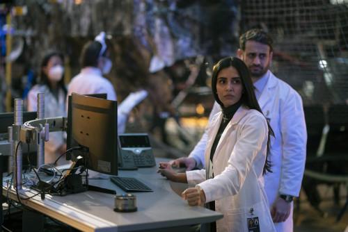 "MANIFEST -- ""Bogey"" Episode 309 -- Pictured: (l-r) Parveen Kaur as Saanvi Bahl, Ed Herbstmann as Tro"