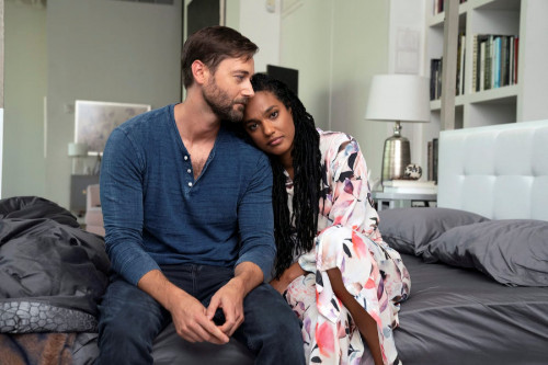 """NEW AMSTERDAM -- """"More Joy"""" Episode 401 -- Pictured: (l-r) Ryan Eggold as Dr. Max Goodwin, Freema Ag"""